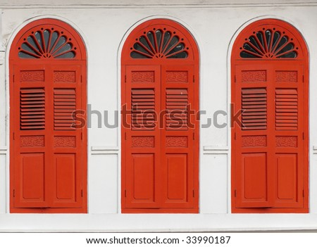 Red Long Windows - stock photo