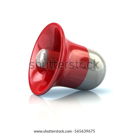 Red loudspeaker icon 3d rendering on white background