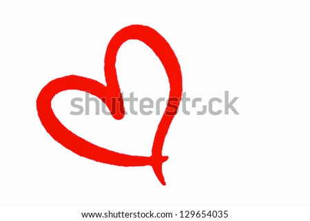 Red love heart isolated on white background.