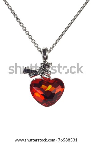 Red love heart shaped gemstone necklace on white background