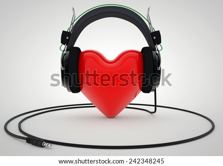 Red Love Heart with Headphones - stock photo