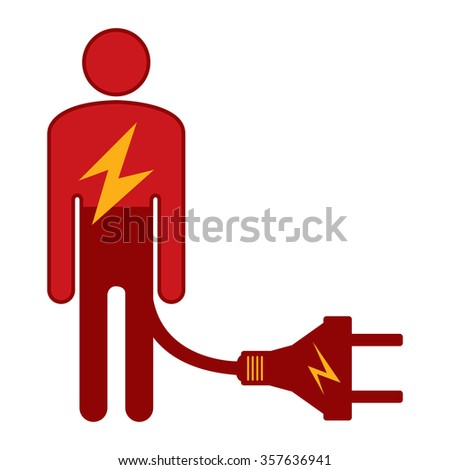 Red Low Battery Businessman With Energy Power Cable Infographics Flat Icon, Sign Isolated on White Background