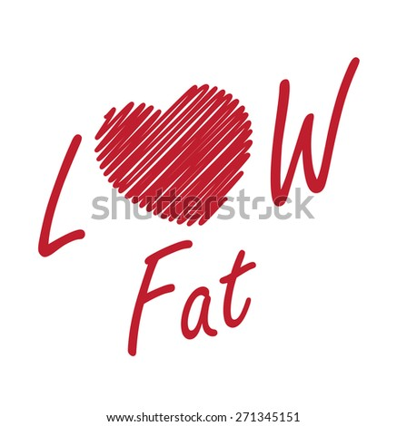 Red Low Fat Label, Banner, Sign or Icon Isolated on White Background - stock photo