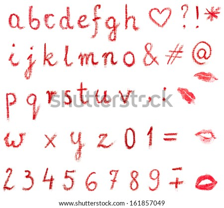 Red, lowercase lipstick alphabet made of written letters. Whole alphabet, signs and lips marks isolated on white. - stock photo