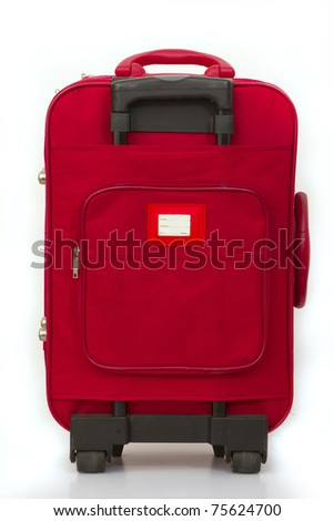 Red luggage isolated on white with tag - stock photo