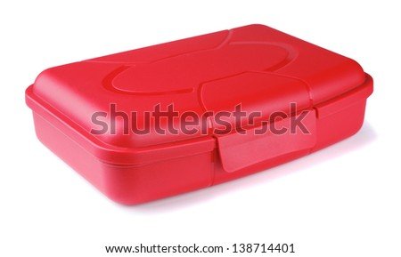 Red lunch box on a white background - stock photo