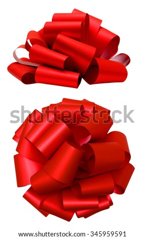 Red lush bow isolated over white with clipping path; side and top view - stock photo