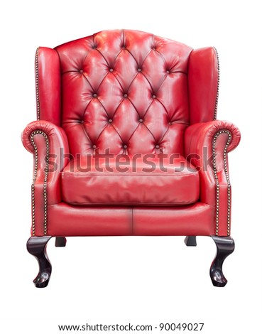 red luxury armchair isolated with clipping path - stock photo