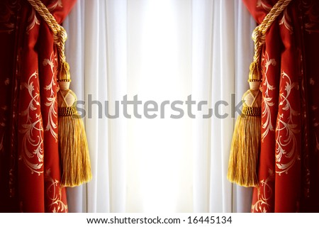 Red luxury curtain with a copy space in the middle - stock photo