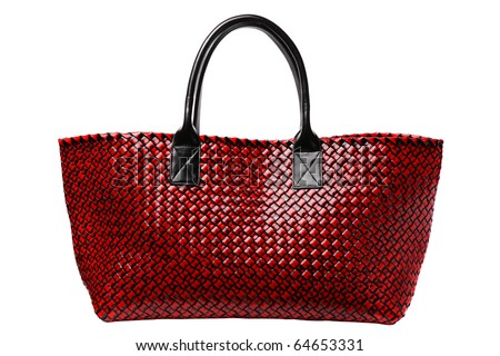 Red luxury leather bag isolated on white - stock photo