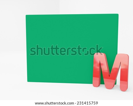 red M alphabet with blank green canvas - stock photo