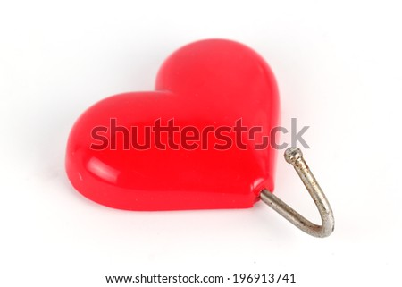 Red Magnets hearts Isolated on white background