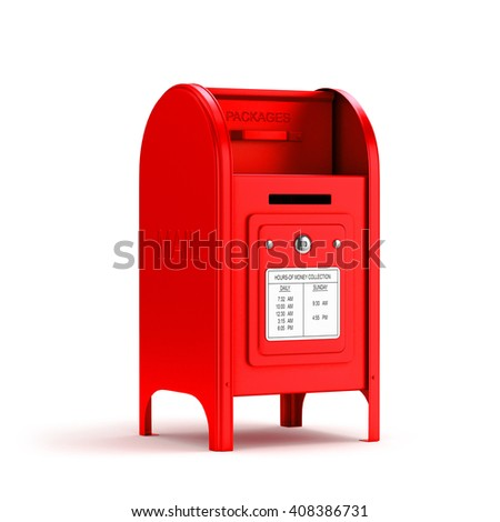 Red mail box. 3d image. Isolated white background.