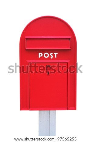 Red mail box over a white background - stock photo