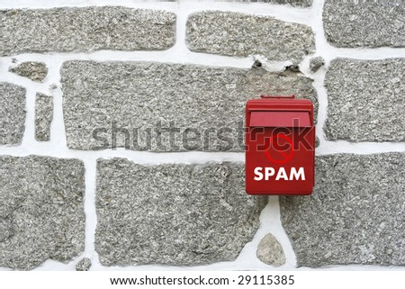red mail box with a forbidden spam sign - stock photo