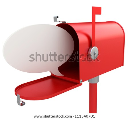 Red mail box with blank speech bubble . 3D illustration isolated on white