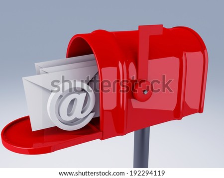 red mail box with heap of letters - stock photo
