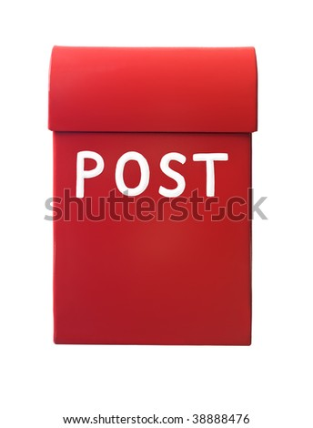 Red mailbox isolated on a white background - stock photo