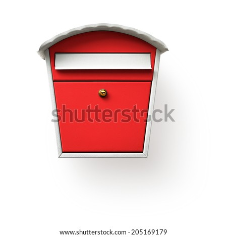 Red mailbox isolated on white background, clipping path included - stock photo