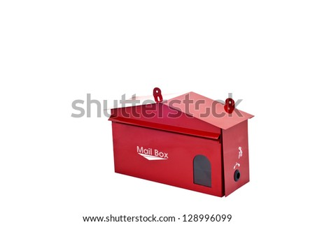 Red mailbox on white background - stock photo