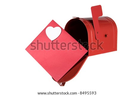 Red mailbox open with red envelope.  Envelope has one white heart.  Isolated on white.