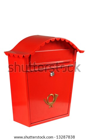 Red mailbox shot in studio from an angle, isolated on white