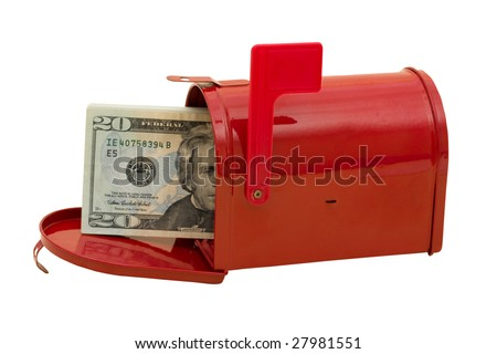 Red mailbox with cash in it and the flag up sitting on a white background, with clipping path - stock photo