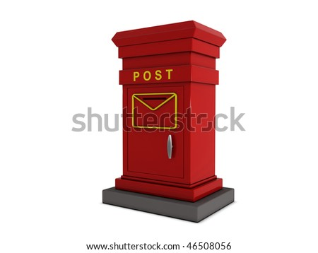 Red mailbox with details isolated on white