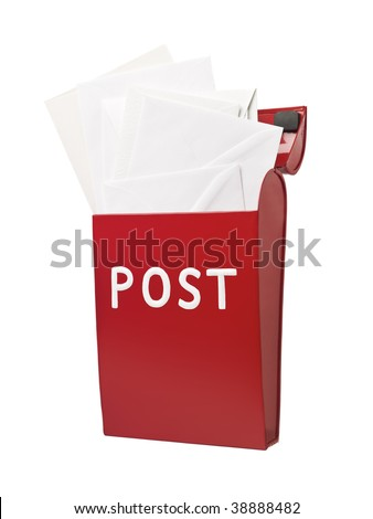 Red mailbox with mail in it isolated on a white background - stock photo