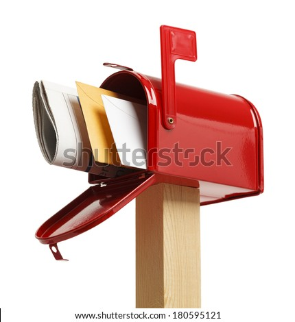 Red Mailbox with mail Isolated on White Background. - stock photo