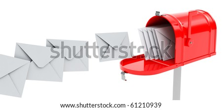 red mailbox with mails