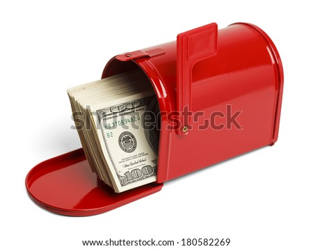 Red Mailbox with Money Sticking Out Isolated on White Background. - stock photo
