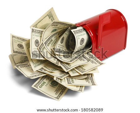 Red Mailbox with Money Stuffed Inside Isolated on White Background. - stock photo