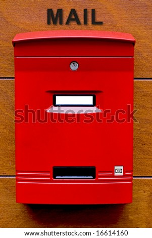 Red Mailbox with white name space - stock photo
