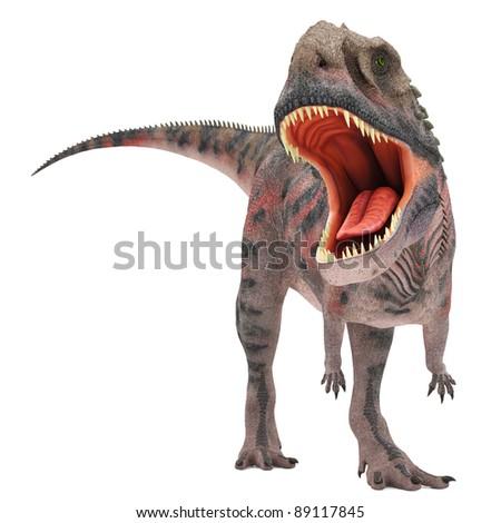 red majungasaurus attack - stock photo