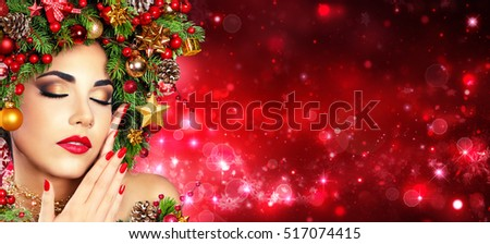 Red Make Up And Manicure - Model Girl With Christmas Tree HairStyle