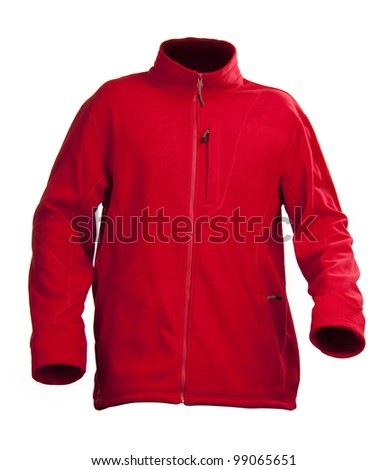 Red male fleece jacket isolated over white - stock photo