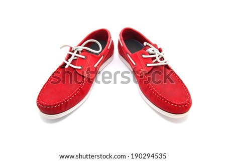 Red man shoes isolated on a white background - stock photo