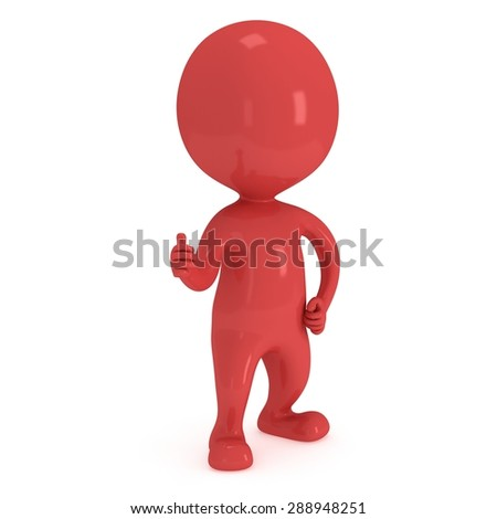 Red man showing thumbs up over white background. 3D render. - stock photo