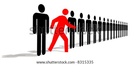 Red Man Standing Out In A Line Of Black Men - stock photo
