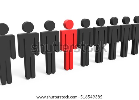 red man symbol in the line of those black ones, 3d illustration white background