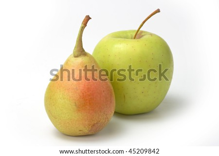 Red mandarin and green apple isolated on white background