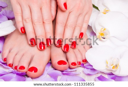 red manicure and pedicure - stock photo