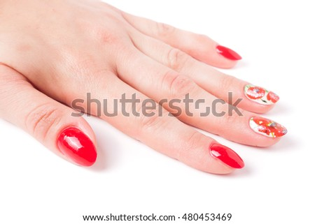 red manicure with a pattern isolated on white background