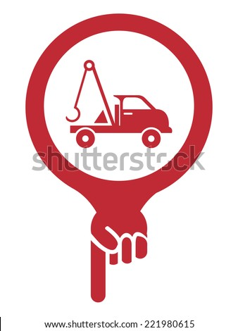 Red Map Pointer Icon With Tow Car, Roadside Assistance Service Sign Isolated on White Background  - stock photo