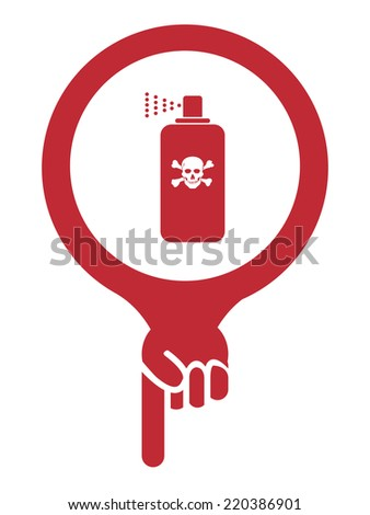 Red Map Pointer Icon With Toxic Spray, Insecticide Spray, Pest Control Service Sign Isolated on White Background  - stock photo