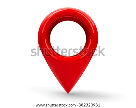 Red map pointer isolated on white background, three-dimensional rendering - stock photo