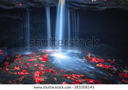 red maple leaf on the rock at small waterfall - stock photo