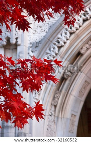 Red maple leaves in front of decorative archway at Ivy League Yale University