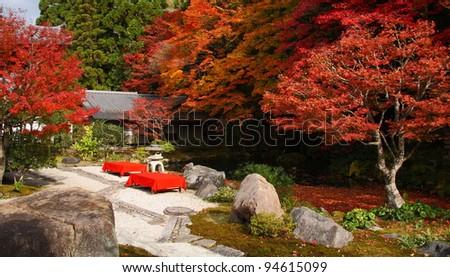Red maple trees in a japanese garden (Nanzen-ji, Kyoto) - stock photo
